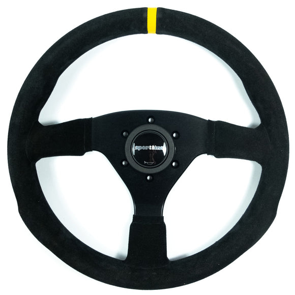 Sport Line Racing Sportivo 32A Steering Wheel - Black Suede Black Spokes 320mm