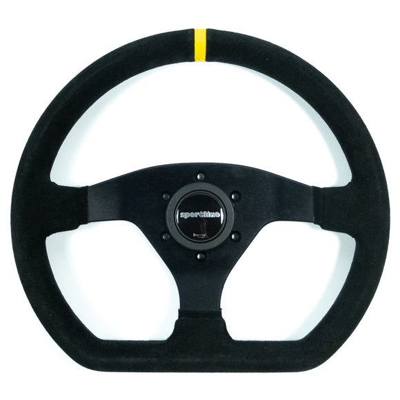 Sport Line Racing Sportivo 32P Steering Wheel - Black Suede Black Spokes 320mm