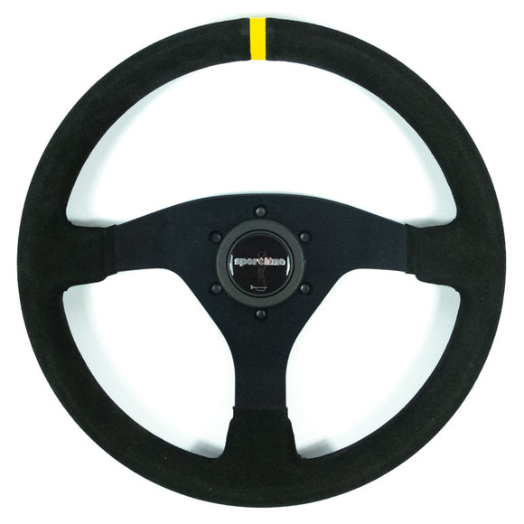 Sport Line Racing Sportivo 32T Steering Wheel - Black Suede Black Spokes 320mm
