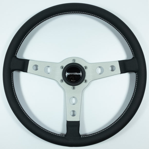 Sport Line Racing Steering Wheel Black Leather Silver Spokes 360mm
