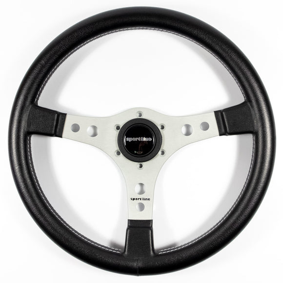 Sport Line Racing Steering Wheel Black Vinyl Silver Spokes 350mm