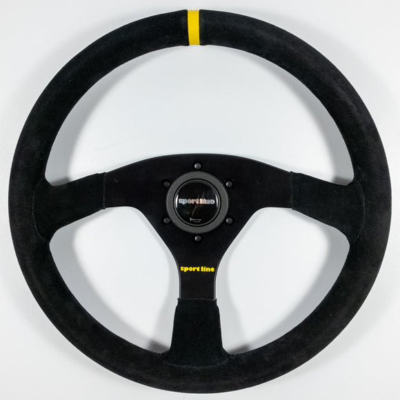 Sport Line Sprint Steering Wheel Black Suede Black Spokes 350mm