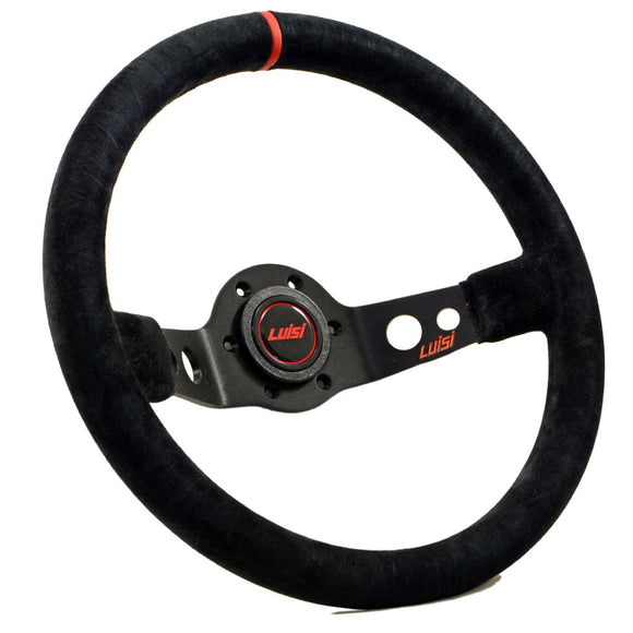 Luisi Jet Sport Two Spoke Steering Wheel Black Shammy Leather Red Stripe Black Spokes 350mm