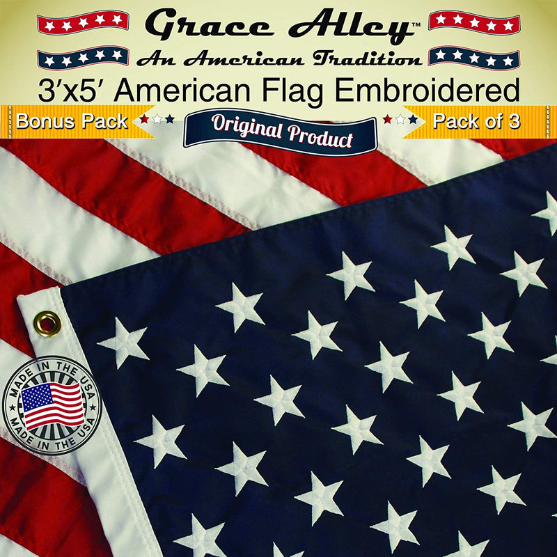 EMBROIDERED AMERICAN FLAG 3-PACK: Three 3x5 FT American Made USA Flags - Quality Embroidered Stars and Sewn Stripes