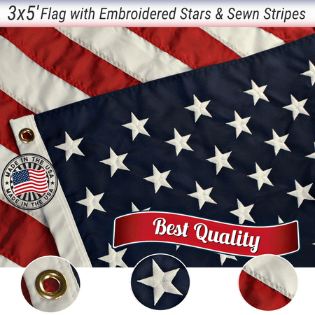 3x5 FT EMBROIDERED AMERICAN FLAG - Made in USA - Quality Embroidered Stars and Sewn Stripes - Grace Alley