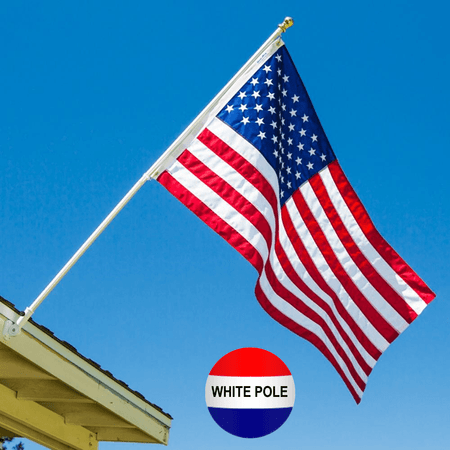 EMBROIDERED US FLAG, BRACKET & POLE KIT (WHITE): Includes 3X5 FT Made in USA Flag, White Tangle-Free Flag Pole & White Flag Pole Bracket - Grace Alley