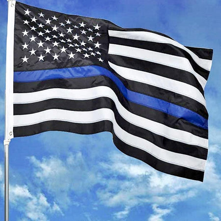THIN BLUE LINE 3x5 FT EMBROIDERED FLAG - Quality Embroidered Stars and Sewn Stripes - Grace Alley