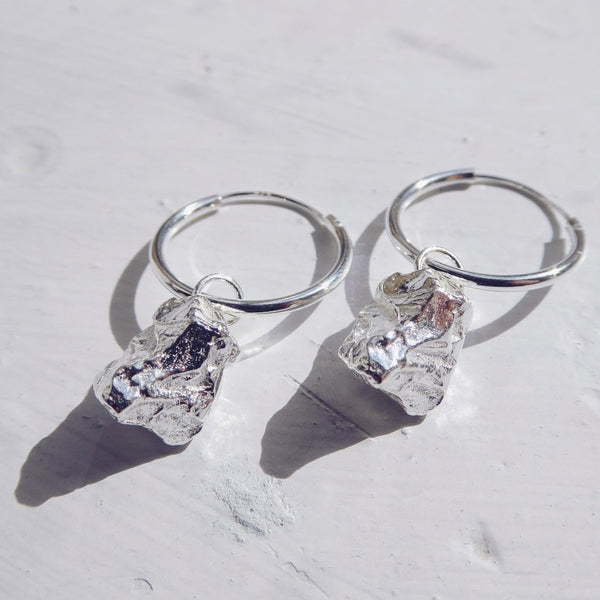Meteorite Hoop Earrings