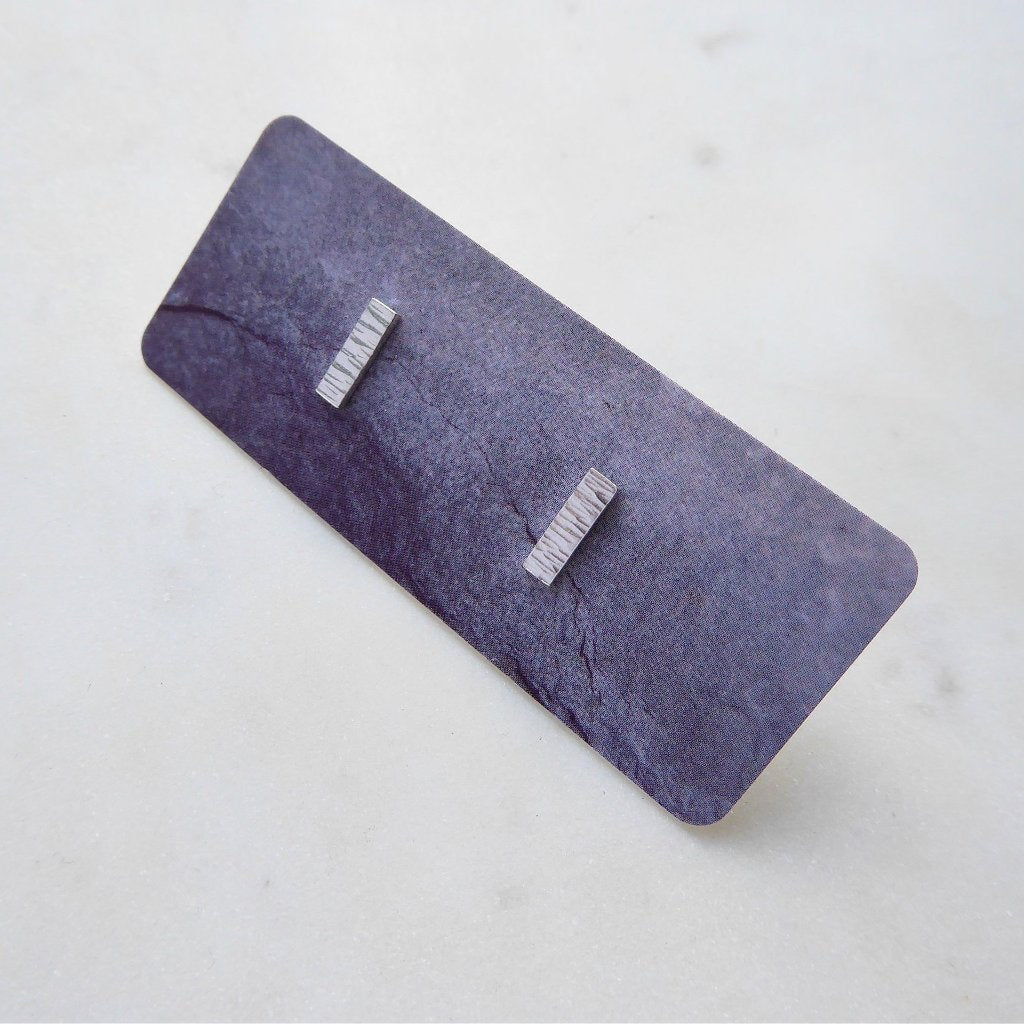 Mini Textured Bar Stud Earrings