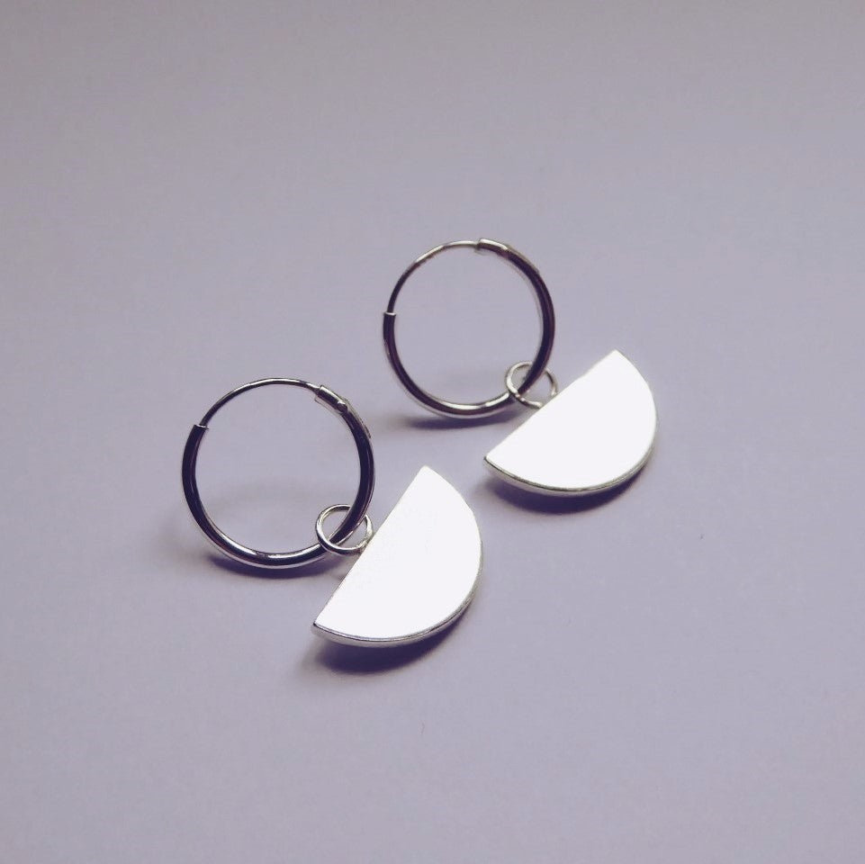 Quarter Moon Hoop Earrings