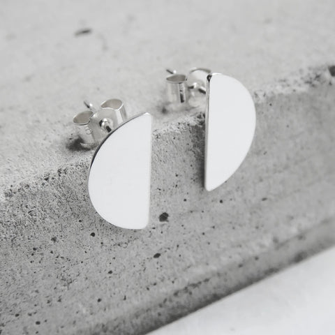 Quarter Moon Drop Studs