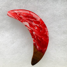 Load image into Gallery viewer, Red, Wood and Blue Pin - Crescent Moon Red