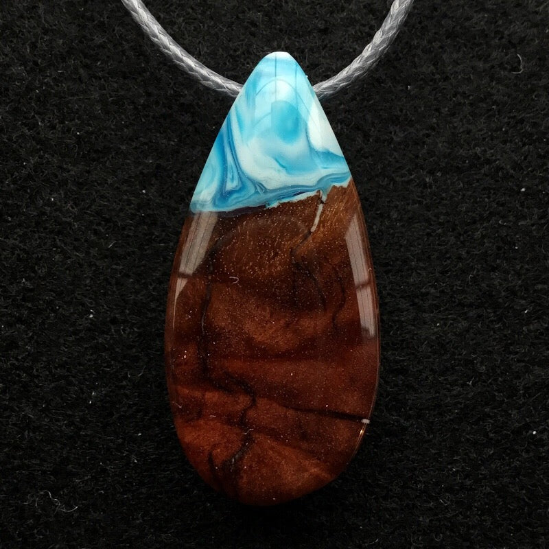 Red, Wood and Blue Pendant - Blue Teardrop Small [03]