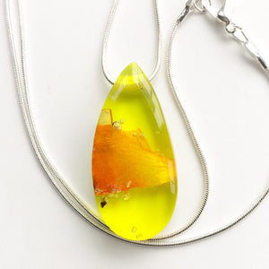 Birch and Wildflower Yellow Teardrop Pendant [T3]