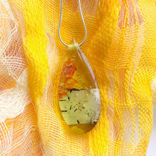 Load image into Gallery viewer, Birch and Wildflower Yellow Teardrop Pendant [T2]