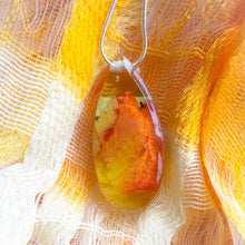 Load image into Gallery viewer, Birch and Wildflower Yellow Teardrop Pendant [T1]