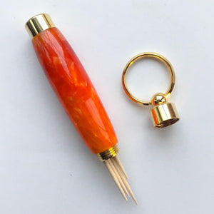 Key Ring - Toothpick Holder - Orange - Gold Ring
