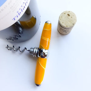 Bottle Stopper & Corkscrew - Bright Yellow Swirls