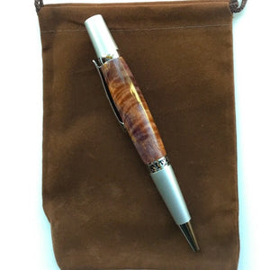 Pen - Wall Street II Silver Filagree Twist Ballpoint with Box Elder Wood