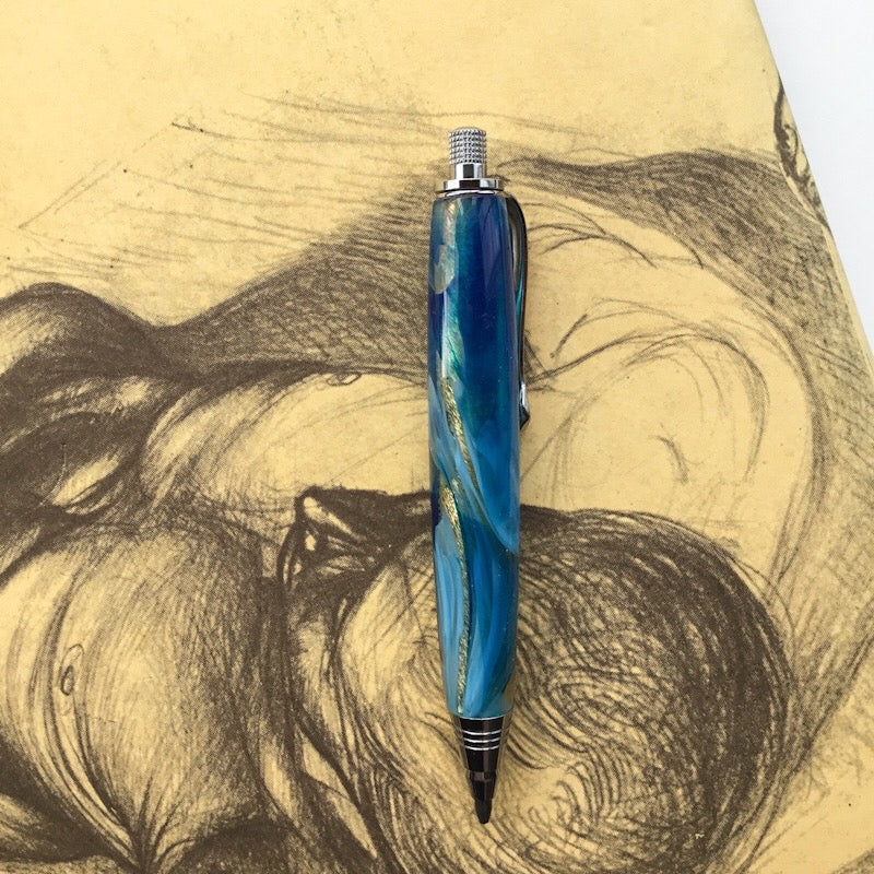 Pencil Mini-Sketch - Blue and Gold