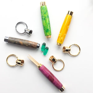 Key Ring - Toothpick Holder - Green Pattern - Gold