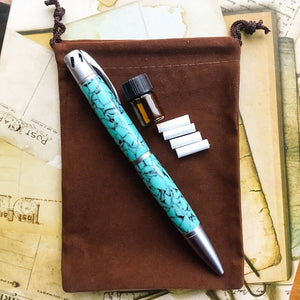 Pen - Aromatherapy with Satin Chrome and Turquoise-like Barrels