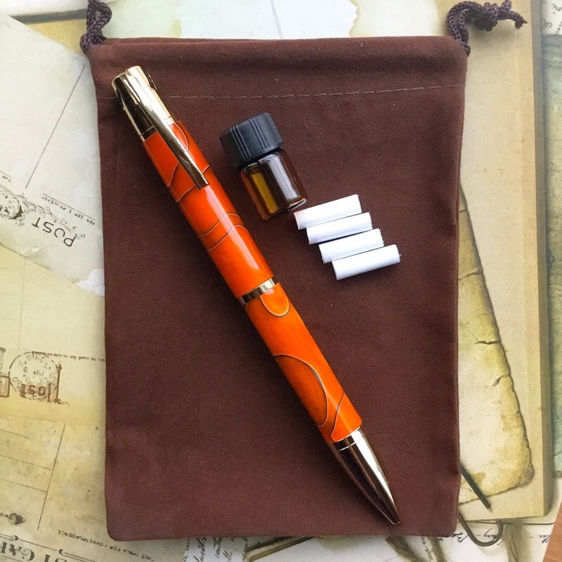 Pen - Aromatherapy with 24K Gold and Orange & Black Barrels