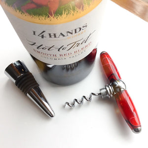 Bottle Stopper & Corkscrew - Red and Black Swirls