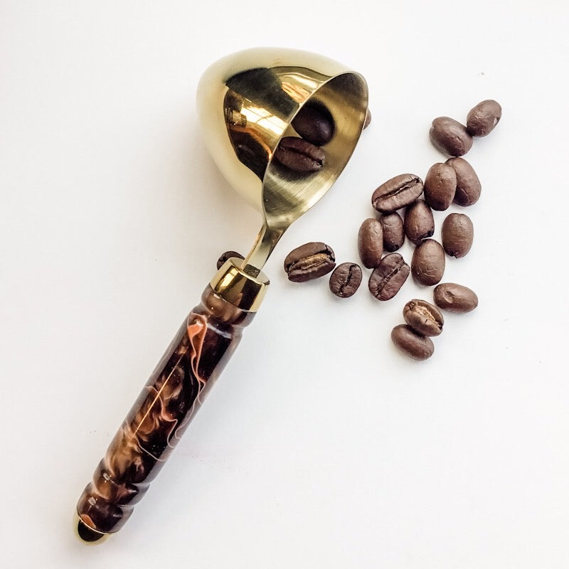 Coffee Scoop - 2 TBS 24K Gold - Brown and Tan Iridescence