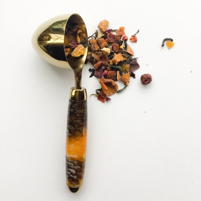 Coffee Scoop - 2 TBS 24K Gold - Pine Cones and Yellow Gold