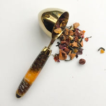 Load image into Gallery viewer, Coffee Scoop - 2 TBS Gold Titanium - Pine Cones and Yellow Gold