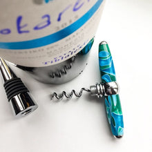 Load image into Gallery viewer, Bottle Stopper & Corkscrew - Blue and Green Swirls