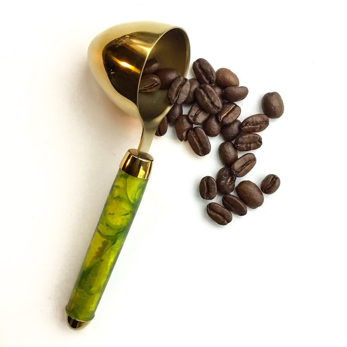 Coffee Scoop - 2 TBS Gold Titanium - Green and Gold