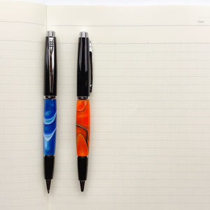 Pen - Big Wig Twist Ballpoint - Black Chrome  with Orange & Black