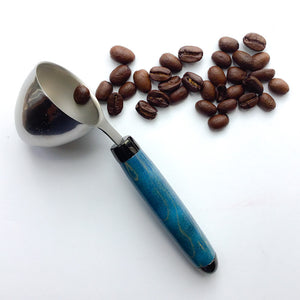 Coffee Scoop - 2 TBS Stainless Steel - Blue Quilted Maple - Extra Special