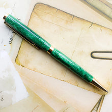 Load image into Gallery viewer, Pen - Slim Cobalt Gold Twist with Emerald Green Luminous Barrel