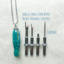 Load image into Gallery viewer, Handle: Necklace Chrome with Magnetic Hook - Blue Green Swirls