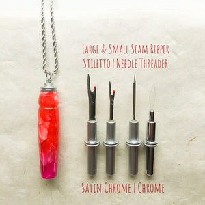 Sewing Tool Handle: Necklace with Magnetic Hook - Red & Magenta