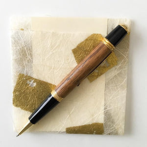 Pen - Wall Street II Gold/Black Twist Ballpoint with Zebra Wood