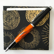 Load image into Gallery viewer, Pen - Big Wig Twist Ballpoint - Black Chrome  with Orange & Black
