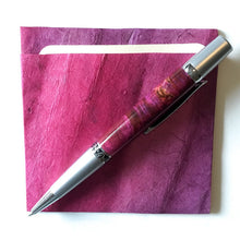 Load image into Gallery viewer, Pen - Wall Street II Silver Filagree Ballpoint - Box Elder Burl Maroon
