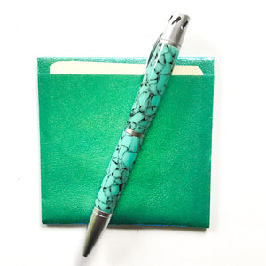 Pen - Aromatherapy - Satin Chrome and Turquoise-like Barrels