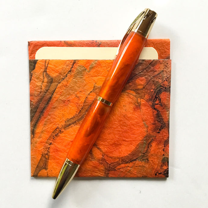 Pen - Aromatherapy - 24K Gold with Orange-Red Barrels