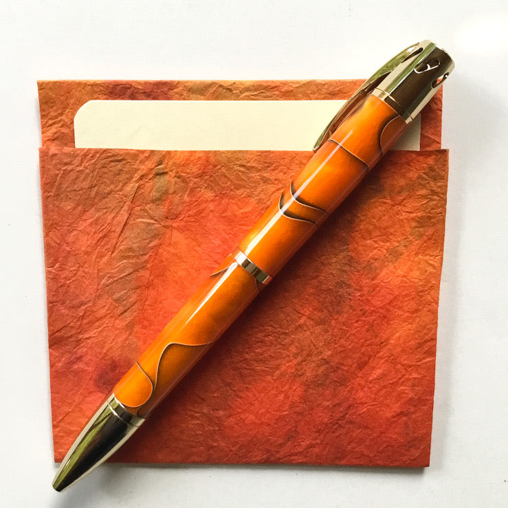 Pen - Aromatherapy - 24K Gold and Orange & Black Barrels