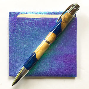 Pen - Aromatherapy - Chrome with Buckeye Burl and Blue Resin