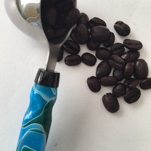 Load image into Gallery viewer, Coffee Scoop - 2 TBS Stainless Steel - Blue and Green Swirls