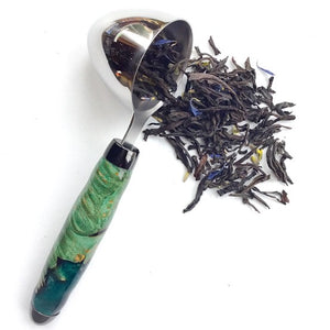 Coffee Scoop - 2 TBS Stainless Steel - Green-dyed Maple Burl Wood