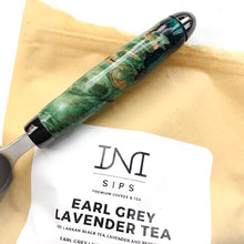 Load image into Gallery viewer, Coffee Scoop - 2 TBS Stainless Steel - Green-dyed Maple Burl Wood