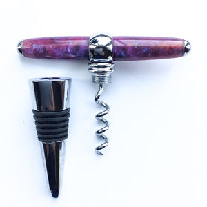 Bottle Stopper & Corkscrew - Purple Sparkles