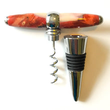 Load image into Gallery viewer, Bottle Stopper & Corkscrew - Pink Buckeye & Ghost Red